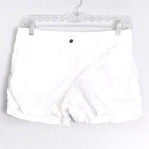 Loft Linen White Button Clasp Shorts